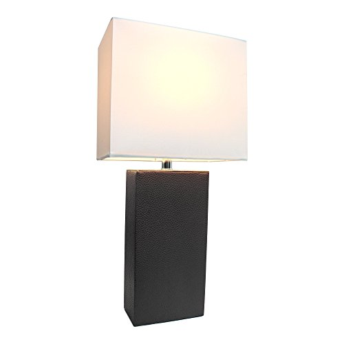 Elegant Designs LT1025-BLK Genuine Leather Table Lamp, 10'' x 6'' x 21'', Black by Elegant Designs (Image #3)