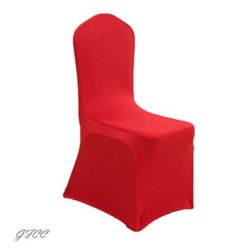 gfccダイニングチェアカバーforウェディングパーティー宴会クリスマス、ホワイトスパンデックス椅子カバー( 1pcs ) 17.7
