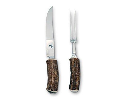 Vagabond House Real Natural Antler Carving Set Fork and Knife Boxed Set; 10.5″ Long