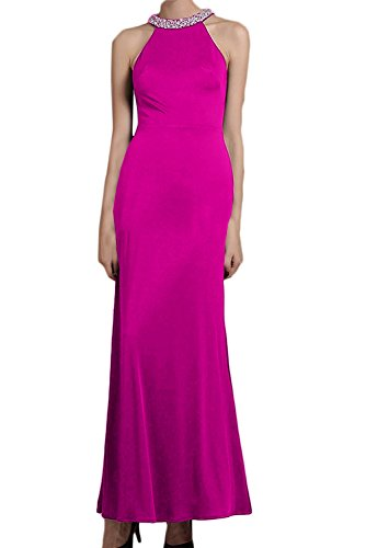 DressyMe Women's Fitted Midi Dresses for Wedding Party Gown Halter Beaded-6-Fuchsia