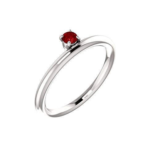 - Bonyak Jewelry Lab-Created Ruby 14k White Gold Chatham Created Ruby Ring - Size 7