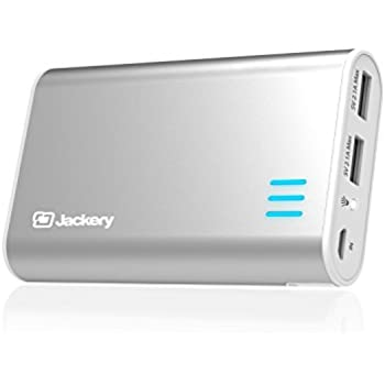Jackery Fit Premium 10200mAh Dual USB 2.4A Output Portable Battery Charger - External Battery Pack, Power Bank, & Portable Charger for iPhone, iPad, Galaxy, and Android Smart Devices (Silver)