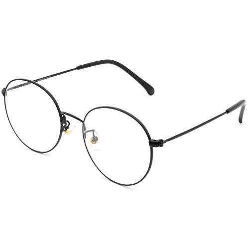 Cyxus Retro Round Blue Light Filter Glasses Vintage Anti Eyestrain Redness Metal Frame (8090T02, Matte Black) (Best Anti Radiation Glasses)