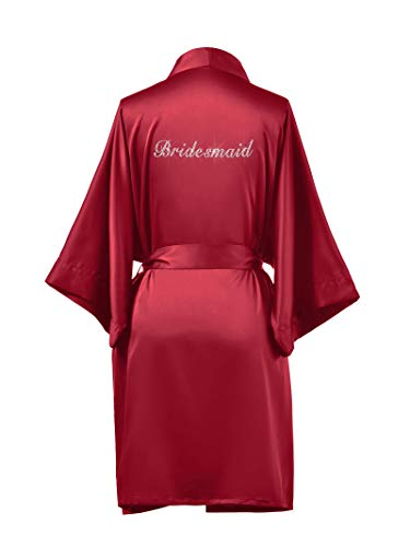 SIORO Bridesmaids Silk Robes for Bridal Shower Personalized Satin Bathrobe Wedding Party Short Kimono Dressing Gown,Red M