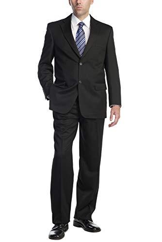 P&L Men's Two-Piece Classic Fit Office 2 Button Suit Tuxedo Blazer Jacket & Pleated Pants Set Black
