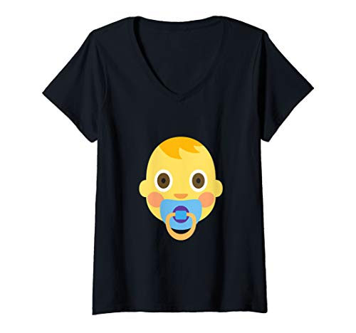 Babies R Us Halloween Shirts (Womens Emoji Baby Boy Cute Adorable Pacifier Boy Emoticon Texting V-Neck)