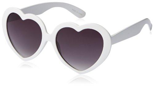 MLC Eyewear Women's Heart Shape Sunglasses Shield Sunglasses,White,52 - Trendy Sunglasses 2014