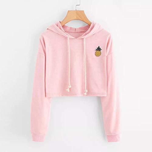 OWMEOT Women's Long Sleeve Hoodie Sweatshirt Colorblock Tie Dye Print Pullover Shirt Blouse (Pink, S) ()