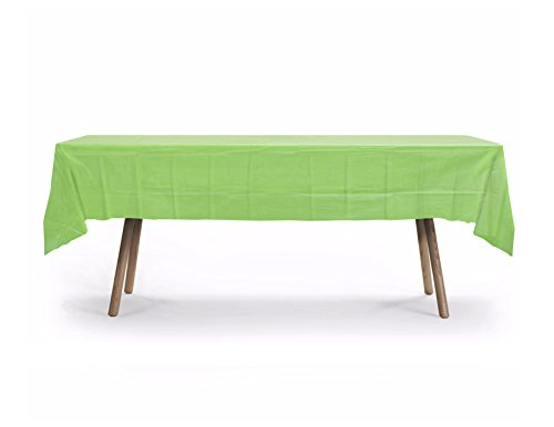 "5 PACK, 54"" x 108"" Rectangular Plastic Table Cover, Plastic Table Cloth Reusable (PEVA) (Lime Green)"