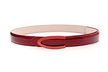 SILIU Mme Clip de ceinture fine cuir lisse verni élégant en cuir ceintures  rouges sauvages 21384d317fc