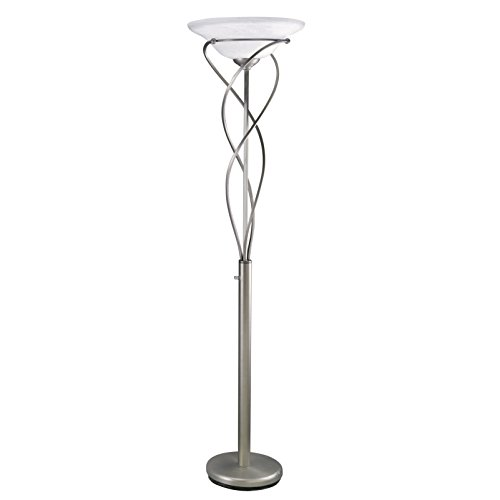 Lite Source LS-9640SS Majesty Torchiere Lamp, Metal Body with Cloud Glass Shade, 18