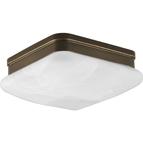 Progress Lighting P3490-20 2-Light Flush Mount with Etched Alabaster Glass Square Diffuser Square Glass Diffuser