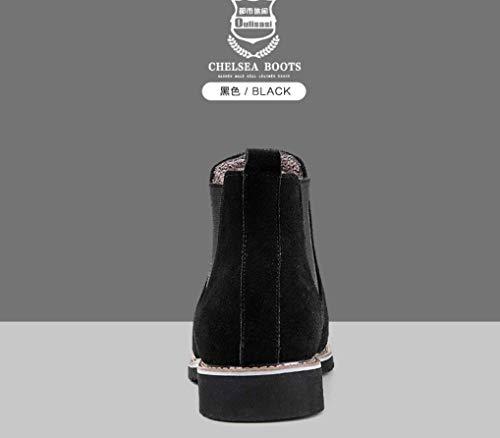 Chelsea Black En Trend Cuir Velvet Pour Martin Hommes Plus Plates Liangxie Bottines Daim YqAFFw