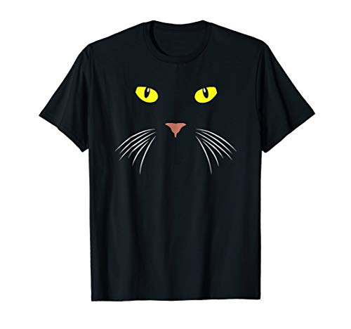 Black Cat Face Whiskers Halloween Costume T Shirt ()
