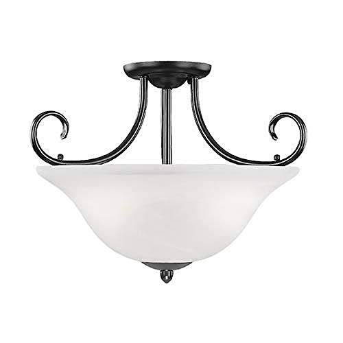 Millennium Lighting 53-BK Main Street - Three Light Semi-Flush Mount, Black Finish with Faux Alabaster Glass