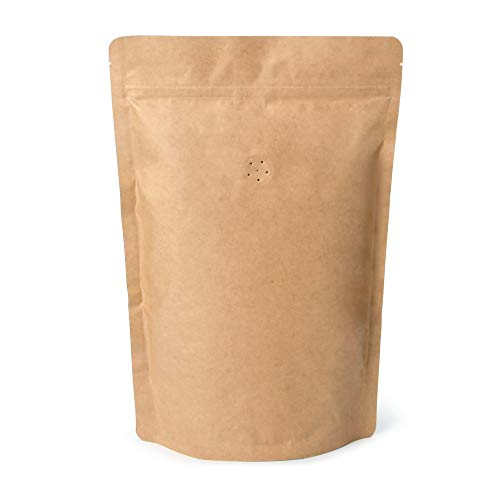 250g 16oz 1lb Kraft Paper Stand up Zipper Pouches Coffee Bags Coffee Pouches with Valve (Pack of 50)