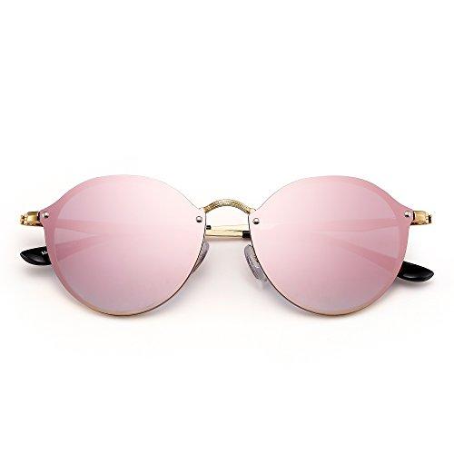 Gafas Lente Retro de Plateado Espejo Sin Sol Redondo Espejo Mujer de Rosa Plano Circulo Marco Pequeño Hombre rrqxwf0dP