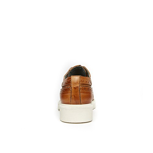 Frank Daniel Scarpa Stringata Derby con Decorazione Wing Cap di Colore Marrone. Wing Cap Derby Brown. Donna.