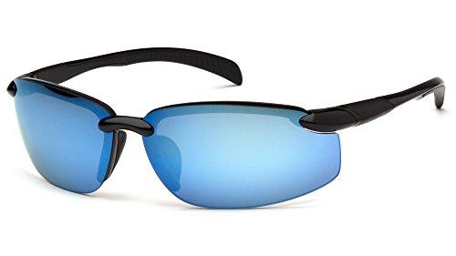 Venture Gear VGSB1165DB Waverton Safety Glasses, Black Frame/Ice Blue Mirror Lens