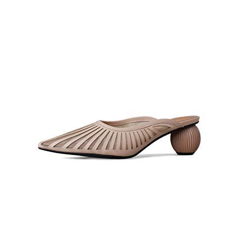 Camel Euro Comforter - Lu Studio Pointed Toe Summer Shoes Strange Heel Women Shoes High Heel Air Mesh Comfortable Elegant Shoes Woman,Camel,9