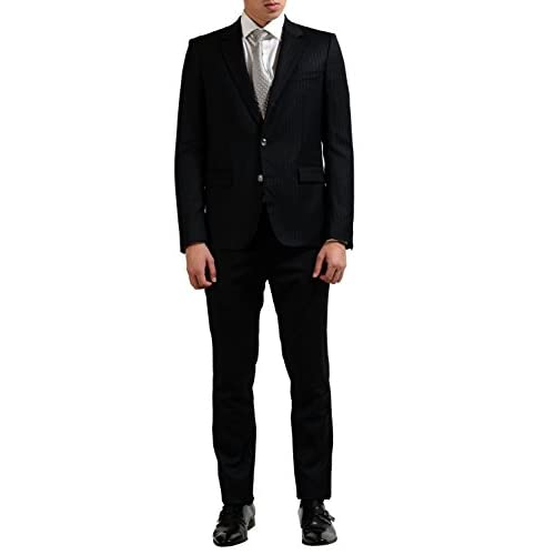 71412bea new Just Cavalli Men's Striped Black Wool Two Button Suit US 38 IT ...