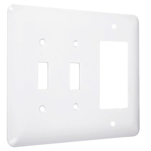 TayMac WRW-TTR Maxi/Princess Metallic Wallplate with Two Toggle, One Decorator/Rocker, Three Gang, White Smooth