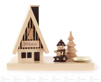 Rudolphs Schatzkiste Incense Man Smoking House ski hut with Snow Man and Candle Holder for Candle d=14mm Width x Height of x Depth 15 cmx11 cmx7,5 cm ore Mountains Smoke Man Smoking Figure (Großhandel Ski)