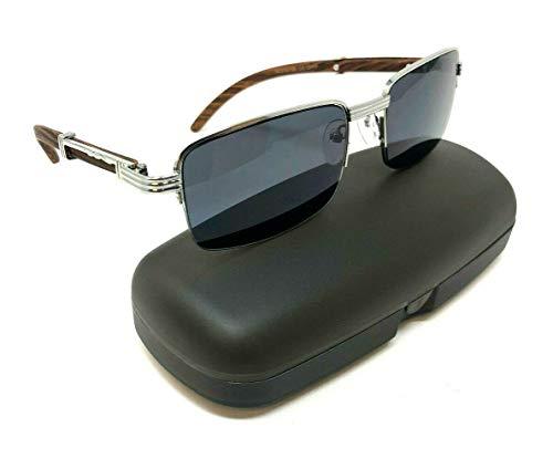 (Executive Slim Half Rim Rectangular Metal & Wood Aviator Sunglasses (Silver & Cherry Wood w/Case, Black))