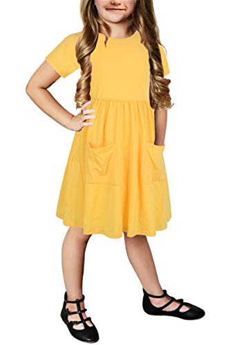Gorlya Girl's Short Sleeve Lovely Backless Elastic Pleated Waist Casual Dress with Front Pockets for 4-12 Years Kids (GOR1005, 4-5Y, Yellow Color) -