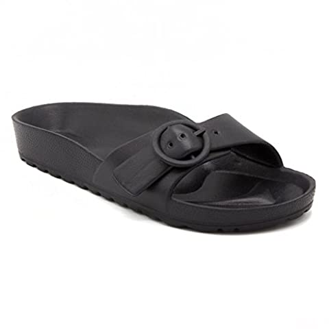 Sugar Womens Buckley EVA Soccer Slide Sandal 6 Black - Iona Flat Shoe