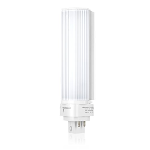 Hyperikon LED PL G24q, 9W (18W CFL Equivalent), 950 lumen, 4000K (Daylight Glow), Ballast Compatible 120-277V, Horizontal Recessed, Rotatable 270°, UL listed (4 Pack) (Plug Quad Tube)
