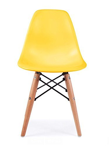 ModHaus Mid Century Modern CHILDREN KIDS Yellow DSW Chair with Wood Dowel Base Inpired by Eames design Matte Finish