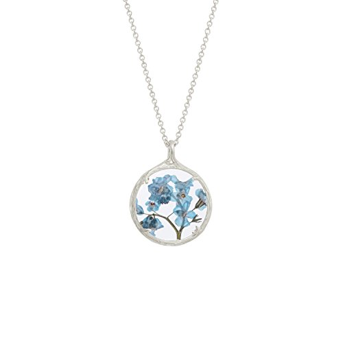 Botanical Pendant Necklace with Delicate Dried Flowers in Glass Charm (Forget Me Not Flowers, silver-plated-base) by Catherine Weitzman