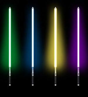 UPSTONE Kybers RGB 11 Colors Changeable Lightsaber Metal Aluminum Hilt Light Saber with 3 Mode Sound Force FX Dueling Lightsaber Black hilt (Basic-SC-Black-RGB) (Color: 11 Colors, Tamaño: 3cm*100cm)