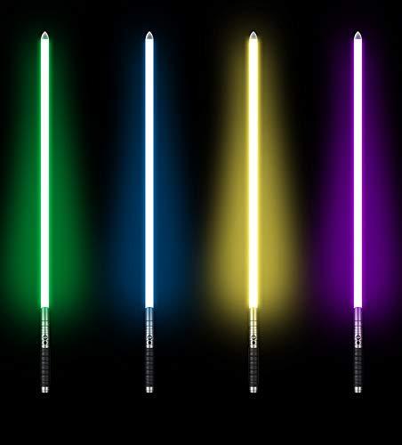 UPSTONE Kybers RGB 11 Colors Changeable Lightsaber Metal Aluminum Hilt Light Saber with 3 Mode Sound Force FX Dueling Lightsaber Black hilt (Basic-SC-Black-RGB) by UPSTONE (Image #4)