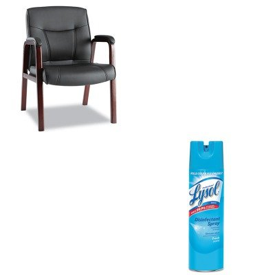 KITALEMA43ALS10MRAC04675EA - Value Kit - Best Madaris Leather Guest Chair w/Wood Trim (ALEMA43ALS10M) and Professional LYSOL Brand Disinfectant Spray (RAC04675EA)