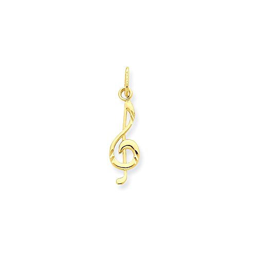 (14k Yellow Gold Small Treble Clef Charm or Pendant, 5 x 21mm)