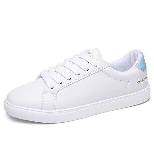 Zapatos Mujer oto Cuero o Casual 9861 Zapatillas de de Flat Goma Zapatillas de Encaje Mujeres de Azul de Zapatos Oxford Fv8qn