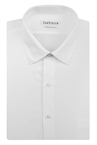 17.5 Neck 36-37 Sleeve White Van Heusen Mens Poplin Regular Fit Solid Point Collar Dress Shirt