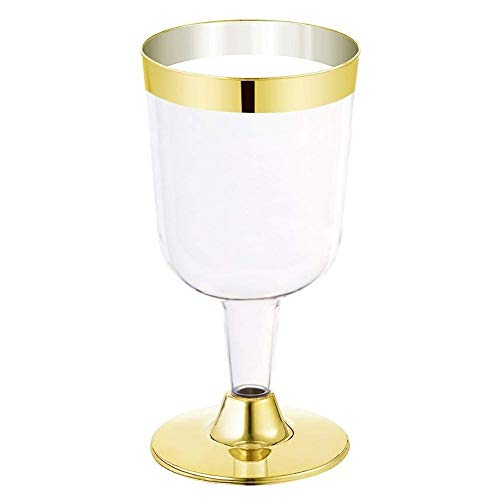 6 Pack Silver Golden Rimmed Disposable Wine Glasses190ML Premium Clear Hard Plastic Fancy Wine Cups