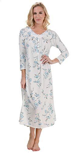 Aria Poly Blend Long Sleeve Nightgown in Aqua Spray (Medium / 10-12, Aqua - Aria Nightgown Long