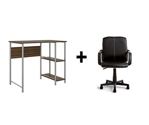 Mainstays Basic Student Walnut Desk, Bundle Set with Black Chair