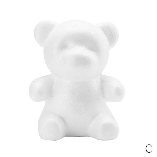 1Pcs White Foam Rose Bear Foam Teddy Bear Mold DIY Wedding Decoration 100Pcs Artificial Flowers Rose Bear C 20CM