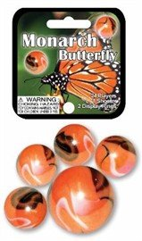 Mega Marbles - MONARCH BUTTERFLY MARBLES NET (1 Shooter Marble, 24 Player Marbles) Fs-Usa Marbles 77779