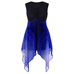 Nncta Women Irregular Hem Chiffon Patchwork Sleeveless V Neck Casual T Shirt Blouse Blue