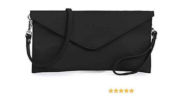 LiaTalia - Bolso de noche/clutch tipo sobre de gamuza suave - Leah(z* (Liquidación) - Negro)