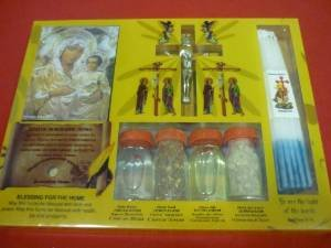 (Zuluf Holy Land Set of Holy Water,Soil,Oil,Insence Holy Candle Mary Icon and cross HLG002)