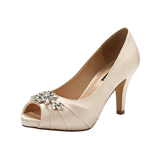 (ERIJUNOR E0055 Peep Toe Mid Heels for Woman Rhinestones Satin Evening Prom Wedding Shoes Champagne Size 8)