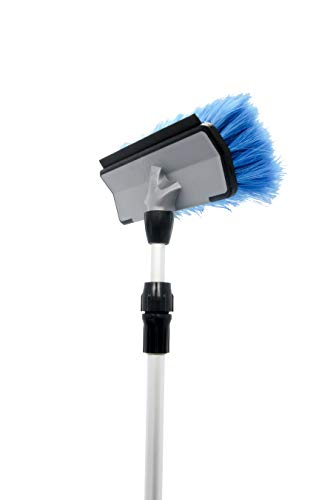 Camco RV Flow-Through Wash Brush with Adjustable Handle and Integrated Squeegee ()