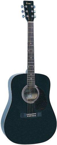 Encore W255BOFT - Guitarra acústica con cuerdas metálicas (abeto laminado), color negro